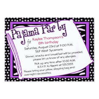 Fiesta de pijama en negro y púrpura comunicado personal