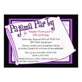 Fiesta de pijama en negro y púrpura anuncios personalizados