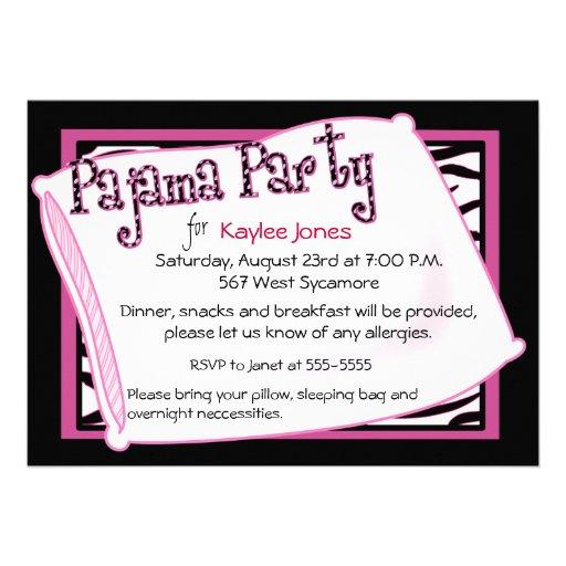 Fiesta de pijama en negro y rosa comunicado
