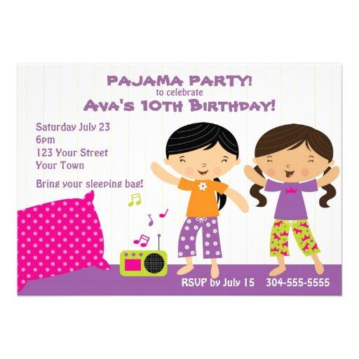 Fiesta de pijama para los chicas invitaciones personales