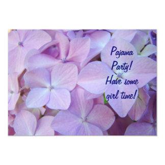 ¡Fiesta de pijama! Tarjetas florales azules Invitación