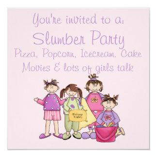 Fiesta de pijamas de la noche del chica invitación 13,3 cm x 13,3cm