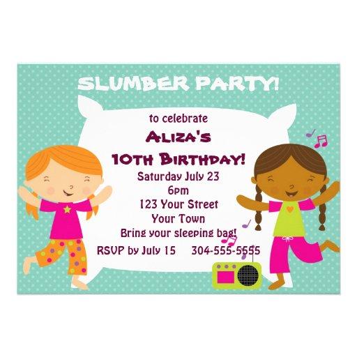 Fiesta de pijamas de los chicas invitación