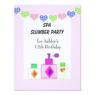 Fiesta de pijamas del balneario para los chicas invitación 10,8 x 13,9 cm