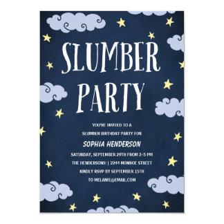 Fiesta de pijamas el   ilustrado cumpleaños de los invitación 12,7 x 17,8 cm