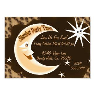 Fiesta de pijamas soñolienta de la luna del invitación 12,7 x 17,8 cm