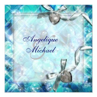 Fiesta de plata azul del corazón de la playa invitación 13,3 cm x 13,3cm
