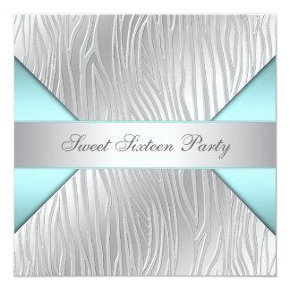 Fiesta de plata azul del dulce 16 de la cebra del invitación 13,3 cm x 13,3cm