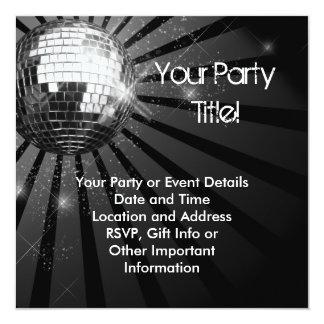 Fiesta de plata cuadrado de la bola de discoteca invitación 13,3 cm x 13,3cm