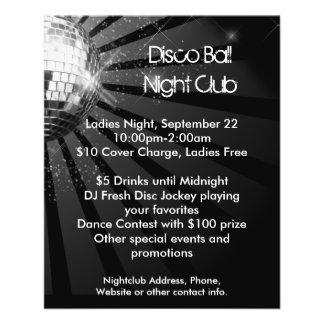 Fiesta de plata de la bola de discoteca de la chis flyer personalizado