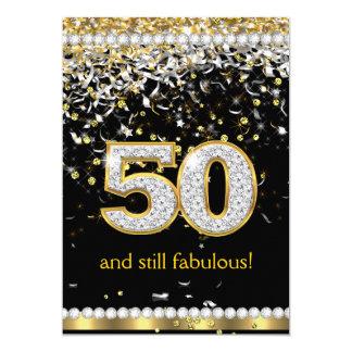 Fiesta de plata de las flámulas 50.as 50 del oro invitación 12,7 x 17,8 cm