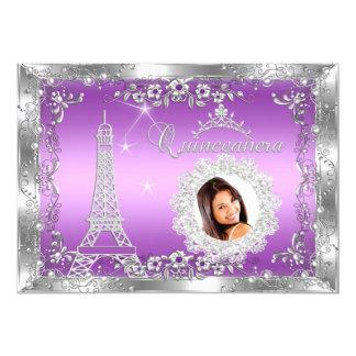 Fiesta de princesa Purple Quinceanera Silver Photo Comunicados Personales