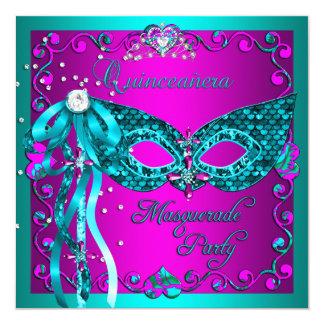 Fiesta de Quinceanera de la mascarada del rosa del Invitación 13,3 Cm X 13,3cm