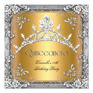 Fiesta de Quinceanera de la plata del oro de la Invitación 13,3 Cm X 13,3cm