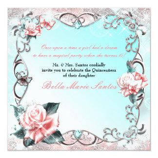 Fiesta de Quinceañera de los rosas y de las Invitación 13,3 Cm X 13,3cm