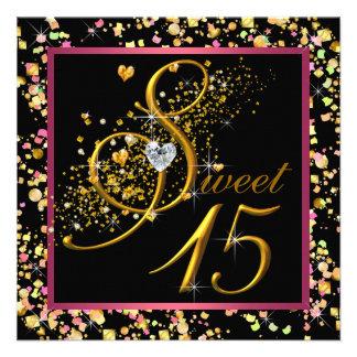 Fiesta de Quinceanera del dulce quince del rosa y Invitacion Personal