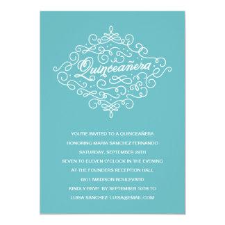 Fiesta de Quinceanera del Flourish de la turquesa Invitación 12,7 X 17,8 Cm