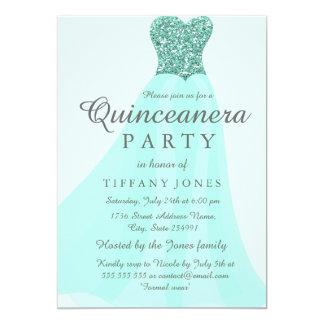 Fiesta de Quinceanera del vestido del brillo el Invitación 12,7 X 17,8 Cm