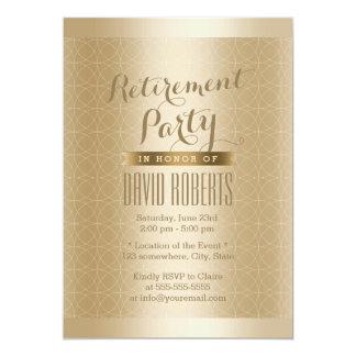 Fiesta de retiro de lujo del modelo de Geo del oro Invitación 12,7 X 17,8 Cm