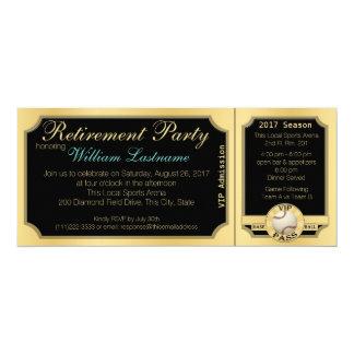 Fiesta de retiro del boleto del béisbol invitación 10,1 x 23,5 cm