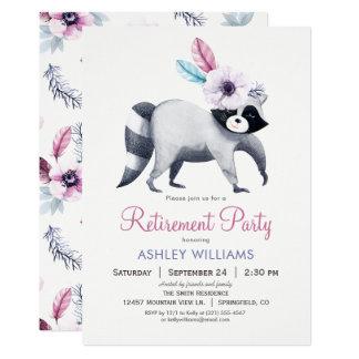 Fiesta de retiro elegante del mapache invitación 12,7 x 17,8 cm