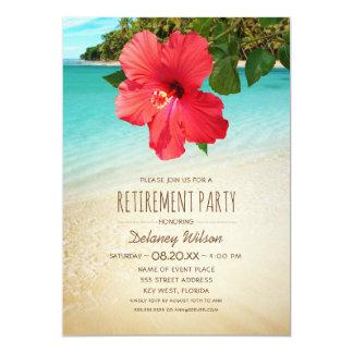 Fiesta de retiro hawaiano de la playa del hibisco invitación 12,7 x 17,8 cm