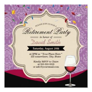 Fiesta de retiro violeta del tema del vino rojo invitación 13,3 cm x 13,3cm