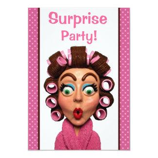 Fiesta de sorpresa de los bigudíes de la mujer que invitación 12,7 x 17,8 cm