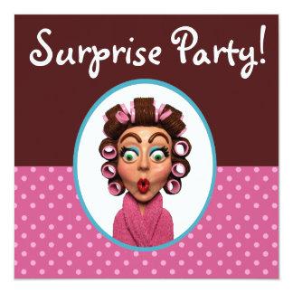 Fiesta de sorpresa de los bigudíes de la mujer que invitación 13,3 cm x 13,3cm