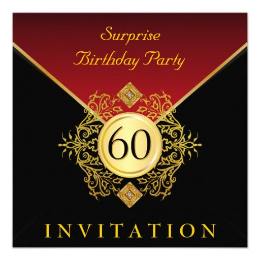 Red Black and Gold Birthday Party Invitations