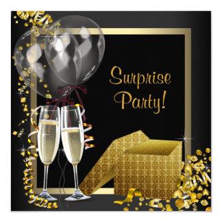 Fiesta de sorpresa del oro del negro del confeti invitación 13,3 cm x 13,3cm