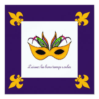 Fiesta del carnaval de la máscara de la flor de invitaciones personalizada