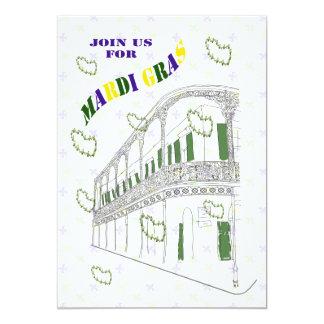 Fiesta del carnaval del balcón del barrio francés invitación 12,7 x 17,8 cm