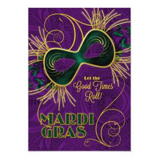 Fiesta del carnaval en verde púrpura del oro invitación 12,7 x 17,8 cm