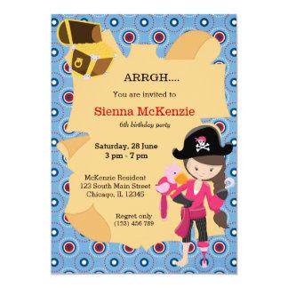 Fiesta del chica del pirata invitación 12,7 x 17,8 cm