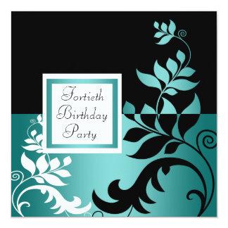Fiesta del cumpleaños azul de la mujer negra del invitación 13,3 cm x 13,3cm