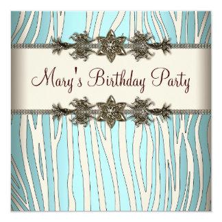 Fiesta del cumpleaños de la mujer azul de la cebra invitación 13,3 cm x 13,3cm