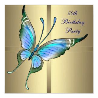Fiesta del cumpleaños de la mujer de la mariposa invitación 13,3 cm x 13,3cm