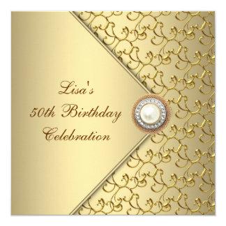 Fiesta del cumpleaños de la mujer de la perla del invitación 13,3 cm x 13,3cm