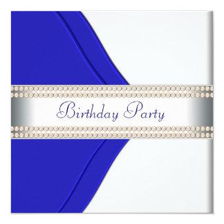 Fiesta del cumpleaños de la mujer de los azules invitación 13,3 cm x 13,3cm