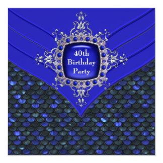 Fiesta del cumpleaños de la mujer de los azules invitaciones personalizada
