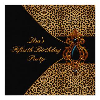 Fiesta del cumpleaños de la mujer del leopardo 50 invitación personalizada