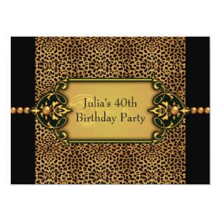 Fiesta del cumpleaños de la mujer del leopardo invitación 16,5 x 22,2 cm