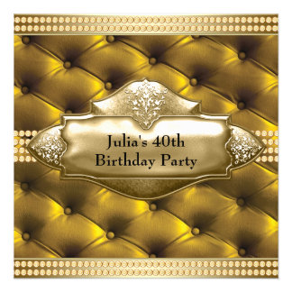 Fiesta del cumpleaños de la mujer del oro 40 a anuncios personalizados