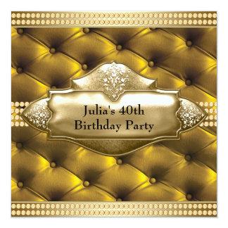 Fiesta del cumpleaños de la mujer del oro 40.a invitación 13,3 cm x 13,3cm