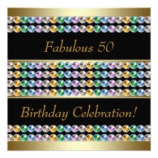 Fiesta del cumpleaños de la mujer del oro 50.a comunicados personalizados