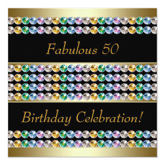 Fiesta del cumpleaños de la mujer del oro 50.a invitación 13,3 cm x 13,3cm