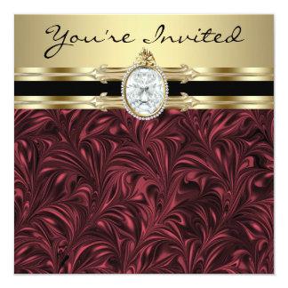 Fiesta del cumpleaños de la mujer del oro del vino invitación 13,3 cm x 13,3cm