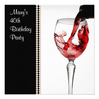 Fiesta del cumpleaños de la mujer del vino rojo 40 anuncio