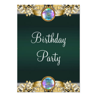 Fiesta del cumpleaños de la mujer esmeralda del invitación 12,7 x 17,8 cm